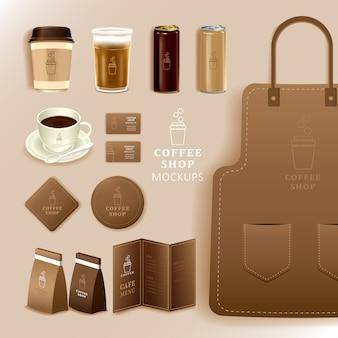 Identità aziendale branding mockup, caffè, caffè, consegna cibo, modello realistico, uniforme, tazza, pacchetto di carta, menu, illustrazione