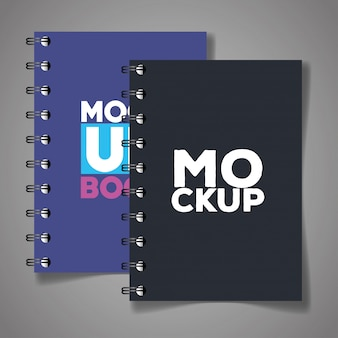 Marchio di identità aziendale, con quaderni di colore grigio e viola copertina