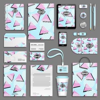 Insieme di modelli creativi di identità aziendale. cancelleria aziendale con logo. design del marchio. trama di memphis. design geometrico colorato
