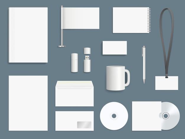 Elementi di identità aziendale. modello marcante a caldo di progettazione di vettore di simboli della raccolta stazionaria di affari
