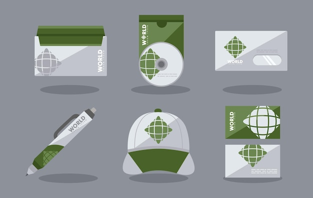 Set di icone di identità aziendale