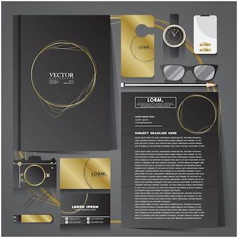 Set di identità aziendale di cerchio nero e oro