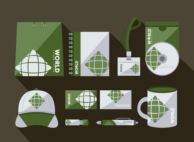 Identità aziendale set di icone