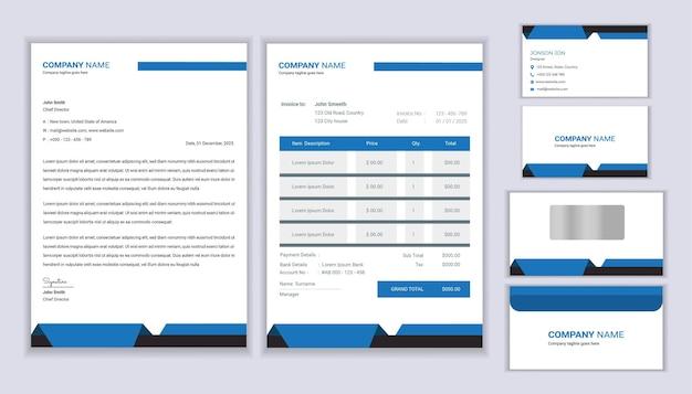 Identità aziendale. modello di cancelleria con carta intestata, fattura e biglietto da visita.