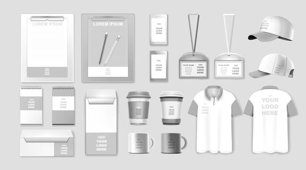 Set di modelli di identità aziendale design del marchio mockup di cancelleria aziendale Vettore Premium