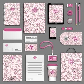 Set di modelli di identità aziendale. modello di cancelleria aziendale con logo. design del marchio.