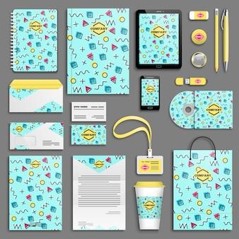 Set di modelli di identità aziendale. cancelleria aziendale con logo. design del marchio. design geometrico colorato di memphis
