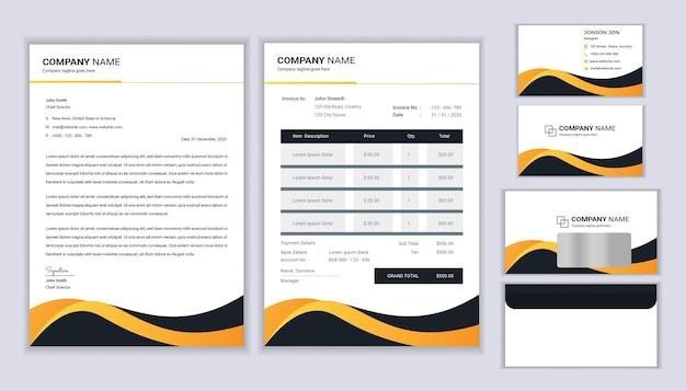 Modello di identità aziendale. modello di cancelleria con modello di carta intestata, fattura, busta e biglietto da visita.
