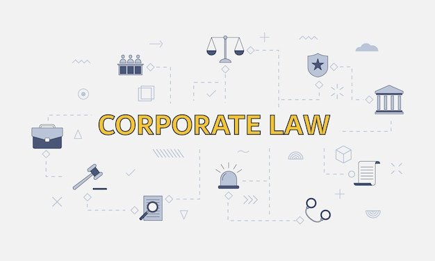 Concetto di diritto societario con set di icone con grandi parole o testo al centro dell'illustrazione vettoriale