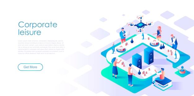 Modello di pagina di destinazione isometrica per il tempo libero aziendale
