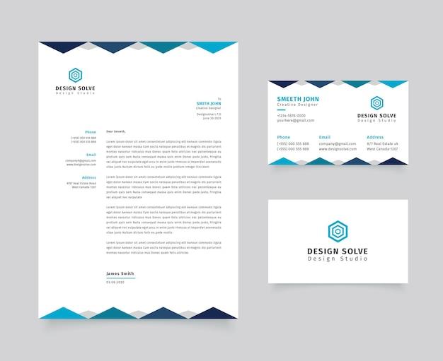 Carta intestata aziendale con modello di biglietto da visita