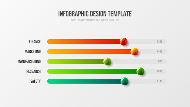 Corporate marketing infografico grafico a barre orizzontali palline colorate illustrazione design layout