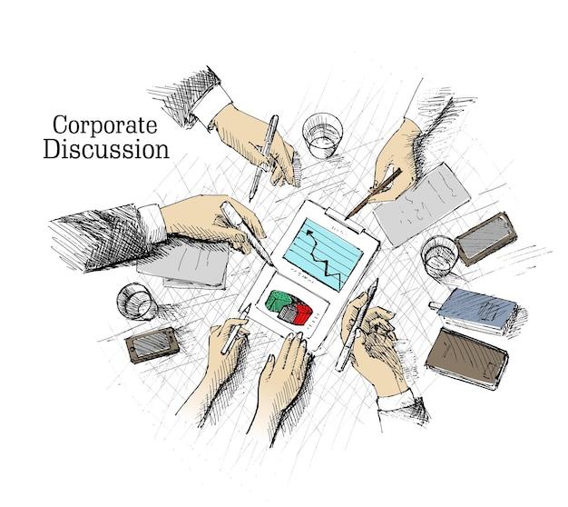 Pianificazione di riunioni aziendali e lavoro di squadra concetto di vista dall'alto con mani d'affari e vari uffici