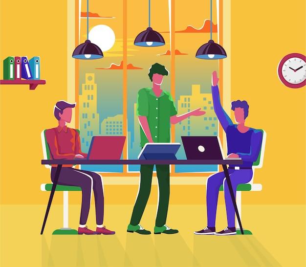 Riunione aziendale con personaggi dei cartoni animati dei dipendenti che discutono l'illustrazione della strategia aziendale