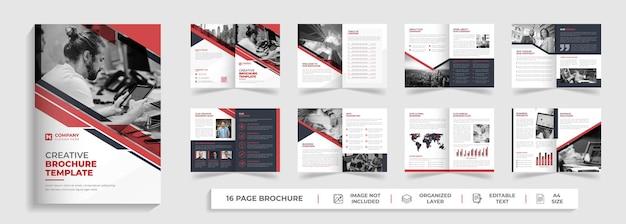 Modello di brochure multipagina bifold moderno aziendale di 16 pagine con forma creativa rossa e nera