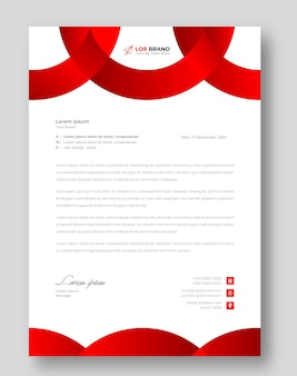 Modello di progettazione di carta intestata aziendale moderna aziendale con colore rosso