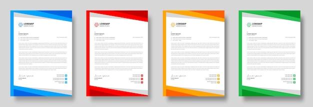 Modello di progettazione di carta intestata aziendale moderna aziendale con colori giallo blu verde e rosso