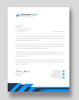 Modello di progettazione di carta intestata aziendale moderna aziendale con forme blu