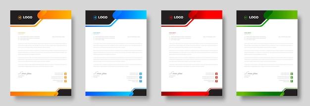 Modello di progettazione di carta intestata aziendale moderna aziendale con forme rosse blu verdi e gialle