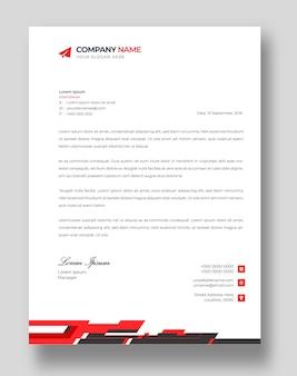 Modello di progettazione di carta intestata aziendale moderna aziendale con forme rosse