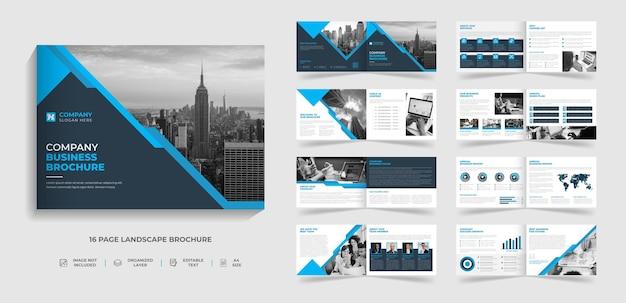 Modello di brochure aziendale moderno multipagina bifold paesaggio a4 con forma astratta
