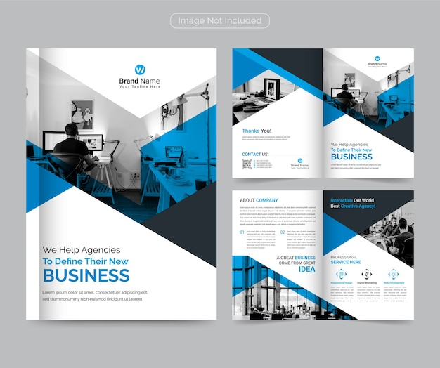 Modello di brochure bifold aziendale moderno e professionale