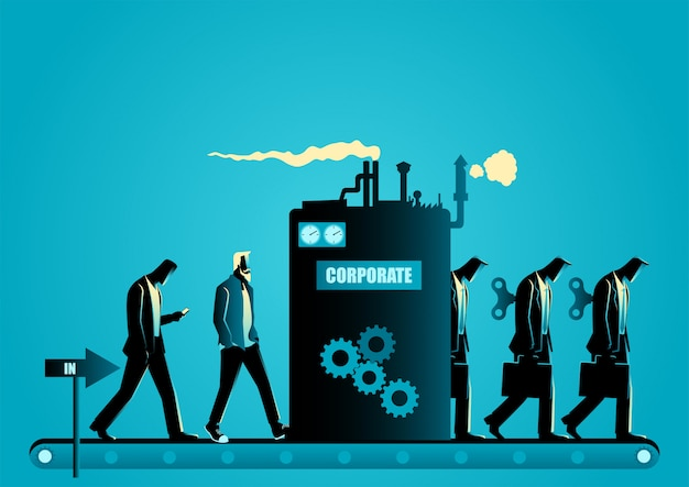 Macchina per lo stampaggio aziendale che trasforma gli uomini in uomini d'affari robot