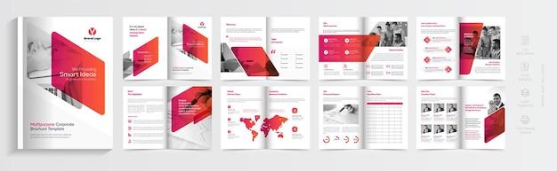 Progettazione del modello di brochure aziendale multipagina aziendale progettazione minima del layout del modello del profilo aziendale