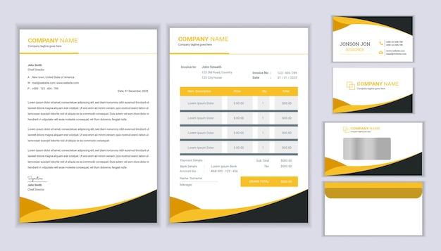Modello di cancelleria ufficiale aziendale con design di carta intestata, fattura e biglietto da visita.