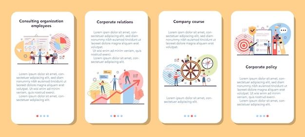 Set di banner per applicazioni mobili di organizzazione aziendale