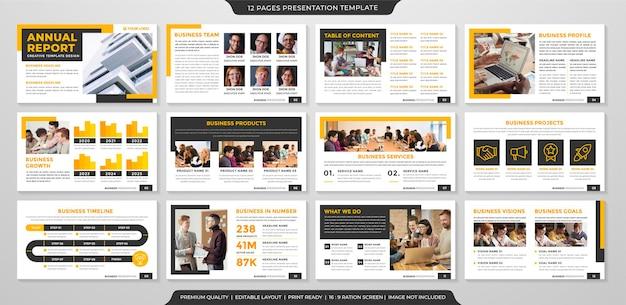 Modello di layout di presentazione aziendale con uso di stile pulito e minimalista per il portafoglio aziendale