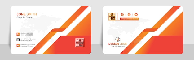 Biglietto da visita aziendale sfumato rosso arancio