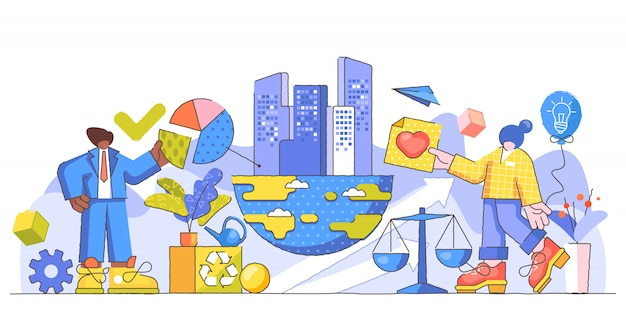 Illustrazione creativa di responsabilità aziendale