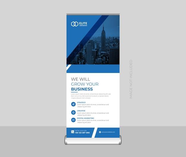 Banner roll up aziendale o banner stand o banner x e modello di progettazione segnaletica premium vector