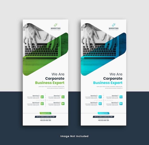 Design del modello di banner rollup aziendale Vettore Premium