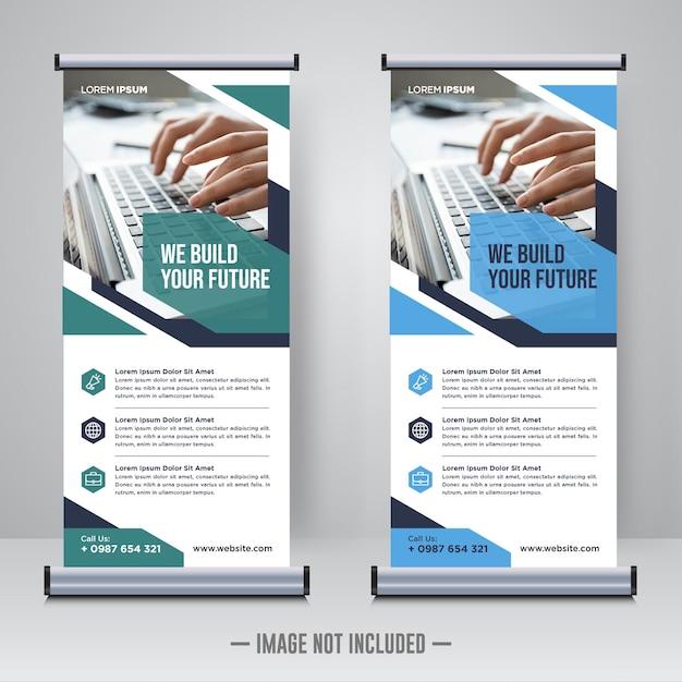 Modello di progettazione rollup aziendale o banner x Vettore Premium