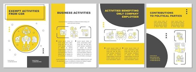 Modello dell'opuscolo giallo delle attività di responsabilità sociale delle imprese. volantino, opuscolo, stampa di volantini, copertina con icone lineari. layout vettoriali per presentazioni, relazioni annuali, pagine pubblicitarie