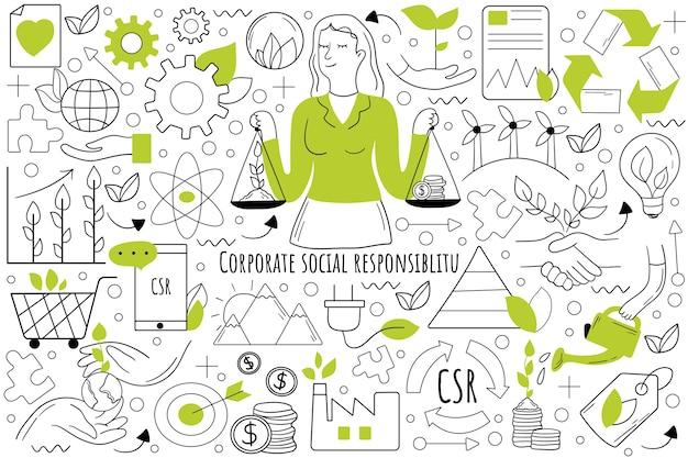 Insieme di doodle di responsabilità sociale aziendale. raccolta di scarabocchi disegnati a mano.