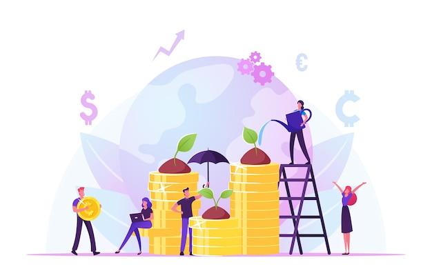 Responsabilità sociale d'impresa. persone etiche e oneste che coltivano piante sulle monete. cartoon illustrazione piatta