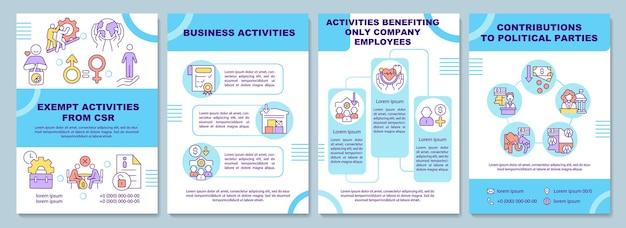 Modello di brochure attività esenti responsabilità sociale aziendale. volantino, opuscolo, stampa di volantini, copertina con icone lineari. layout vettoriali per presentazioni, relazioni annuali, pagine pubblicitarie
