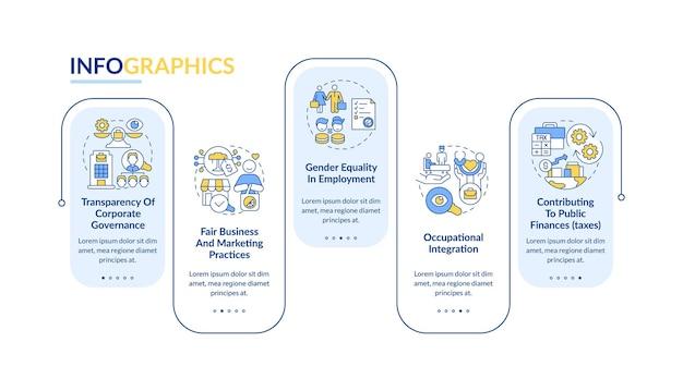 Modello di infographic di vettore di campi di responsabilità sociale delle imprese. elementi di design del contorno di presentazione. visualizzazione dei dati con 5 passaggi. grafico delle informazioni sulla sequenza temporale del processo. layout del flusso di lavoro con icone di linea