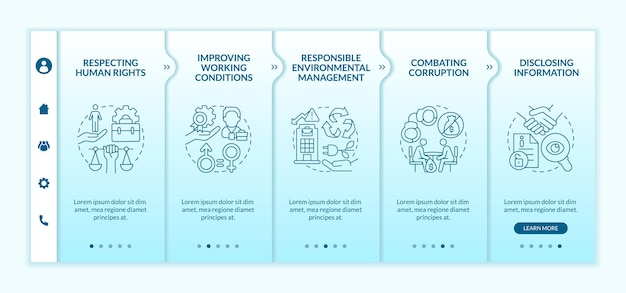 La responsabilità sociale delle imprese emette il modello vettoriale di onboarding sfumato blu. sito mobile reattivo con icone. procedura dettagliata della pagina web 5 schermate di passaggio. concetto di colore con illustrazioni lineari