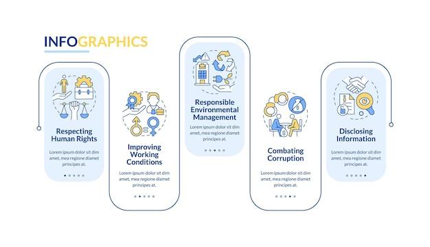 Modello di infographic di vettore di questioni di responsabilità sociale delle imprese. elementi di design del contorno di presentazione. visualizzazione dei dati con 5 passaggi. grafico delle informazioni sulla sequenza temporale del processo. layout del flusso di lavoro con icone di linea