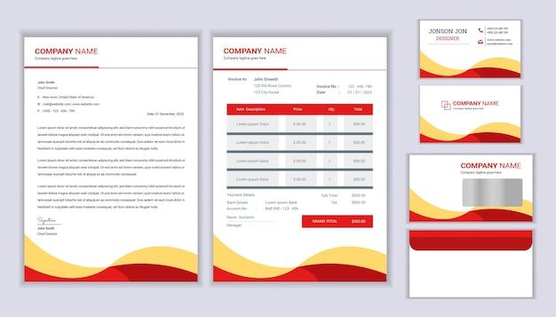 Progettazione di identità aziendale di cancelleria aziendale con fattura modello di carta intestata e biglietto da visita