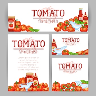 Modello di stile aziendale con pomodori rossi e pomodoro su un ramo e fette con salsa. verdure per mercato del design e prodotto agricolo.