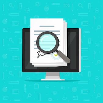 Audit di ispezione di analisi online dello statuto aziendale, documenti contrattuali di accordi digitali