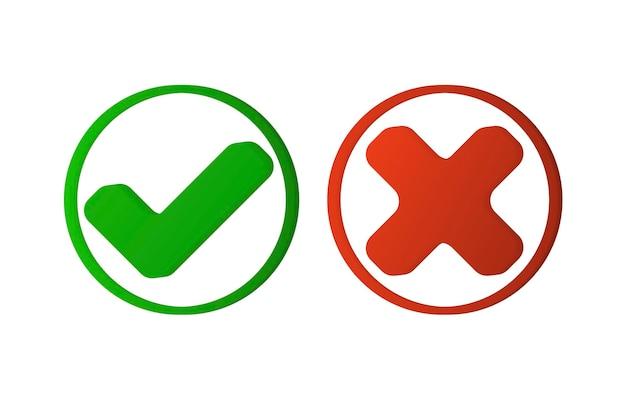 Segno errato corretto set di icone del segno giusto e sbagliato segno di spunta verde e simbolo piatto della croce rossa Vettore Premium