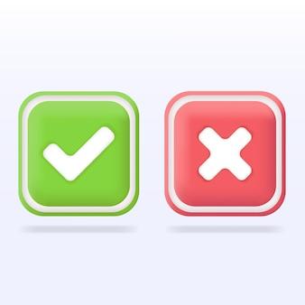 Segno errato corretto set di icone del segno giusto e sbagliato segno di spunta verde e simbolo piatto della croce rossa