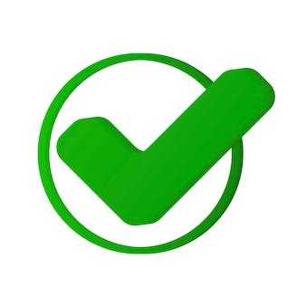 Segno corretto set di icone del segno di destra simbolo piatto di spunta verde spuntare i segni ok s per la decisione di voto
