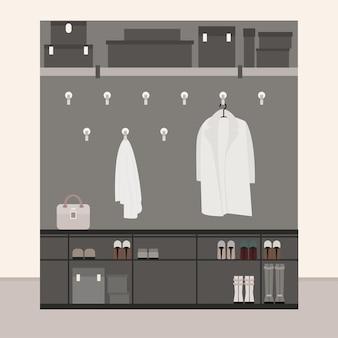 Armadio corridoio con grucce per vestiti e spazio per scarpe e scatole illustrazione stile piatto